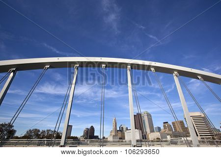 Columbus Ohio skyline framed by the Main Street Bridge