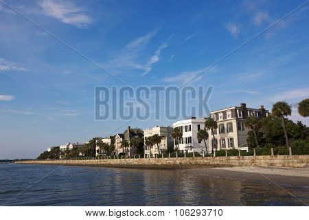 Historic homes line the Charleston waterfront in south Carolina.
