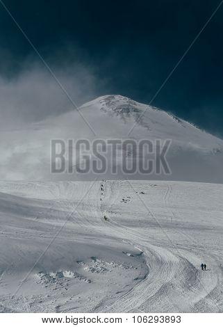 Trail To The Peak Of Mount Elbrus.