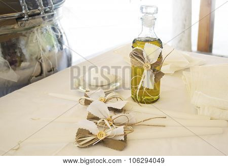 Orthodox Christening oil with candles