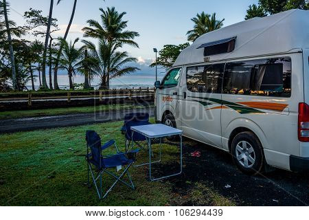 Gold Coast, Australia Circa May 2014: A Camper In Mission Beach
