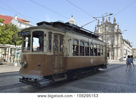 Historical Tram In In The Streets Of Porto
