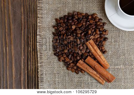 Stack Of Coffee Bean And Cinnamon