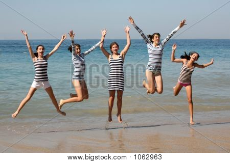 Five Girls Jumping
