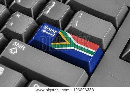 Enter Button With South Africa Flag