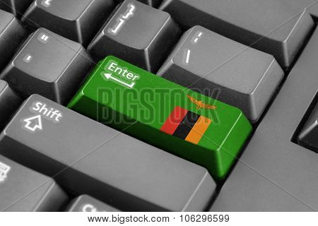 Enter Button With Zambia Flag