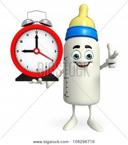 Baby Bottle Character With Table Clock
