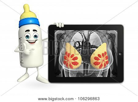 Baby Bottle Character With Breast Anatomy