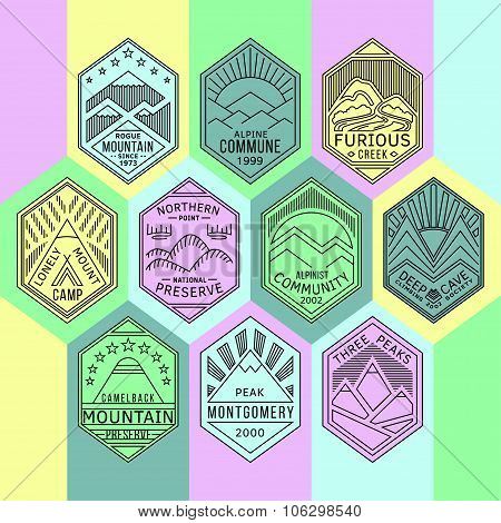 Mountain badges linear 1mono