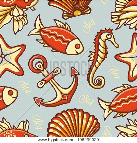 Beautiful sea seamless pattern.  Anchor, fish, shell, starfish, seahorse. Cheerful colorful style.