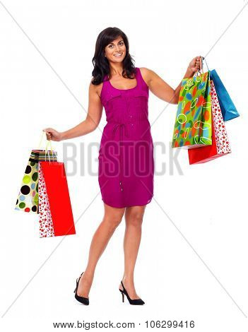 Asian woman with shopping bags isolated white background