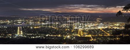 Panoramic View Of Canberra At Sunset