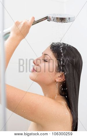 Woman Pampering Body With Water