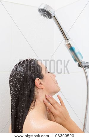 Woman Refreshing With Cold Water