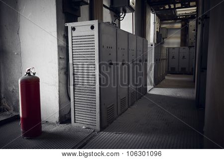 electrical switchboards in an abandoned factory