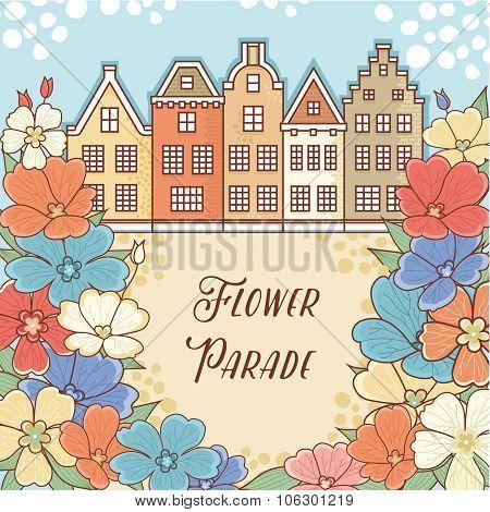 Flower Parade in Holland. Netherlands. Flower pattern. Layout Billboard for the designer. Label. Tem