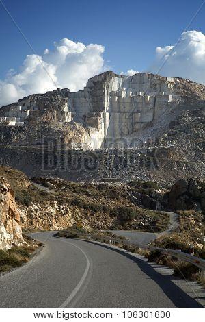 Marble mountain in Kourounochori in Naxos, Greece