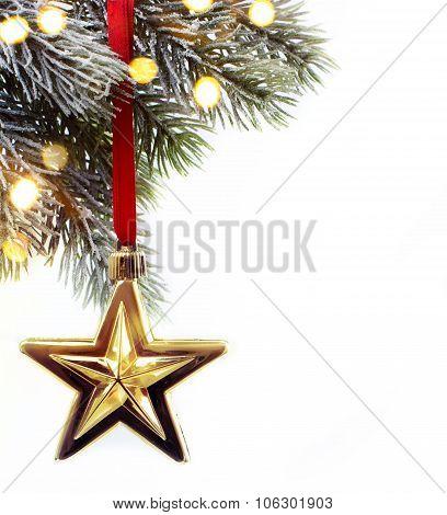 Art Christmas Fir Twigs With Christmas Decoration