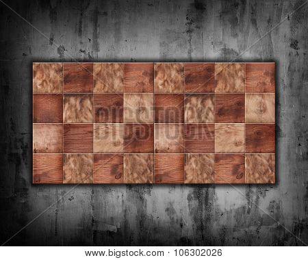Checkerboard Squares On A Concrete Wall Background