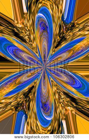 Illustration Of Blue Gold Flower