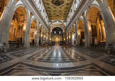 San Francesco's Church Interior At Assisi, Italy
