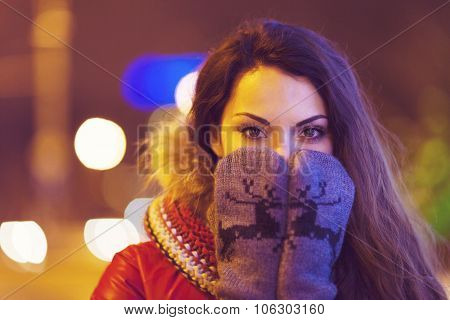 Portrait Of Young Pretty Woman Outdoor In Wintertime