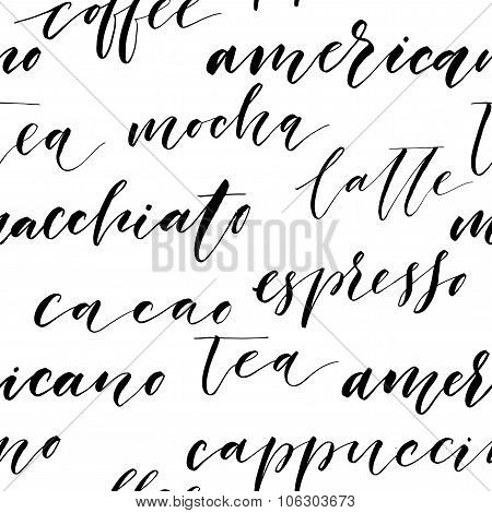 Hand Drawn Lettering. Seamless Calligraphy Pattern.