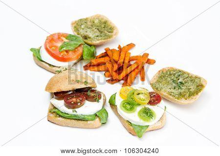Fresh Mozzarella Tomato Sandwich With Basil