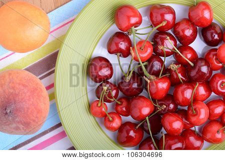 Mandarin, Peach And Cherry Fresh Fruits And Berries, Summer Health Food, Top View