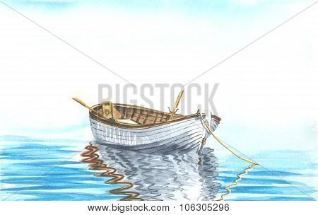 boat at sea watercolour