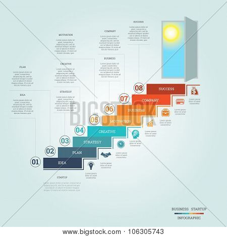 Business Success Startup Infographics Eight Positions