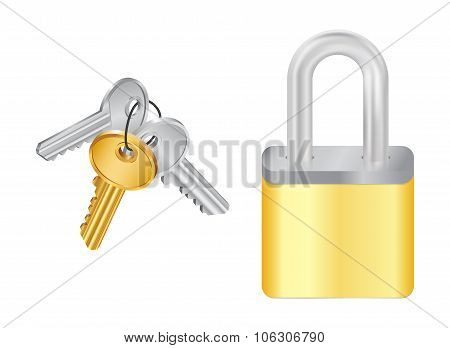 Bunch Of Keys And Padlock