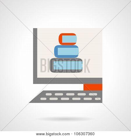 E-tutorials flat color vector icon