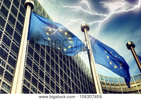 Lightning Over European Union Flags