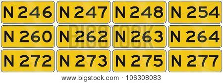 Collection Of Dutch Road Shields Of Provincial Roads