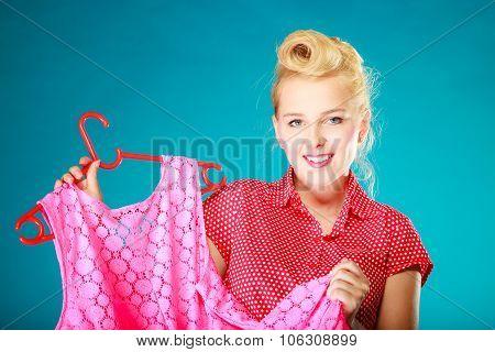 Pinup Girl Woman Buying Pink Dress. Sale