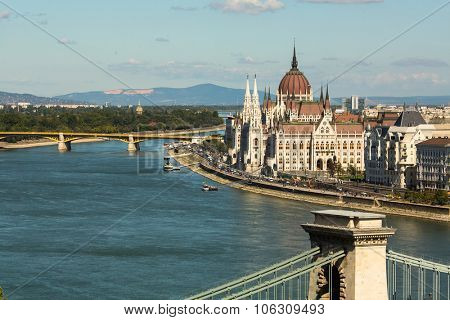 BUDAPEST, HUNGARY - CIRCA SEP, 2015: The Danube Promenade. Pest panorama of the Danube - UNESCO world heritage site.