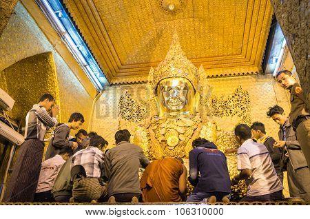 Daily Morning Ritual At Golden Mahamuni Pagoda near Mandalay