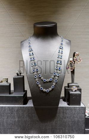 HONG KONG - MAY 06, 2015: glass case in the jewelry store. Hong Kong is large exporter of jewelry in the world, mainly in the supply of jade and gold.