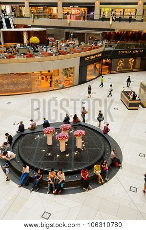 HONG KONG - MAY 06, 2015: interior of the Landmark shopping mall. The Landmark, also known as