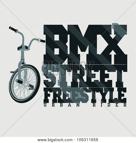 BMX Riding Typography t-shirt, vector