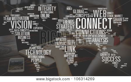 Global Technology Connect Worldwide Link Concept