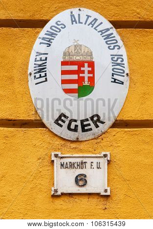 Old Street Sign In Eger, Hungary