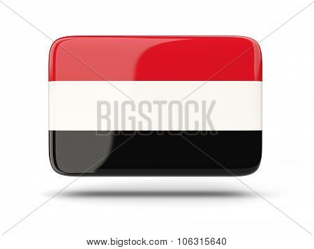Square Icon With Flag Of Yemen