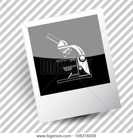 lab microscope. Photoframe. Vector icon.