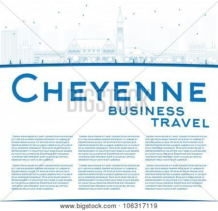 Outline Cheyenne (Wyoming) Skyline with Blue Buildings. Business travel and tourism concept with place for text. Image for presentation, banner, placard and web site.
