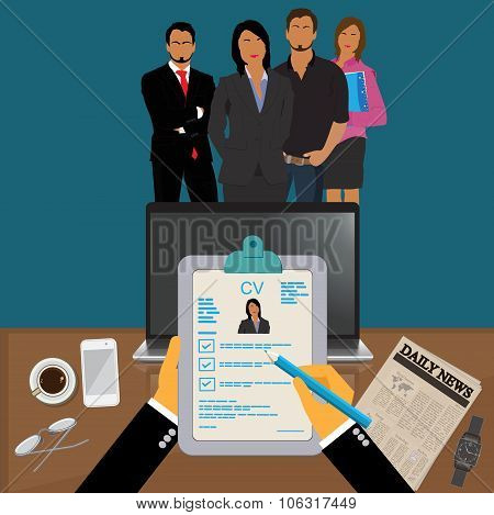 Hands holding CV profile to choose from group of business people to hire, interview, hr, Vector Illu
