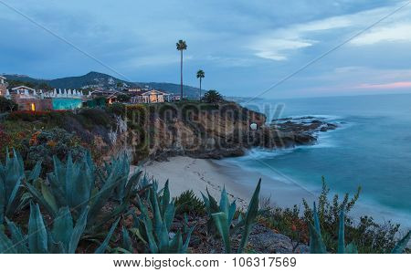 City lights view Laguna Beach at night