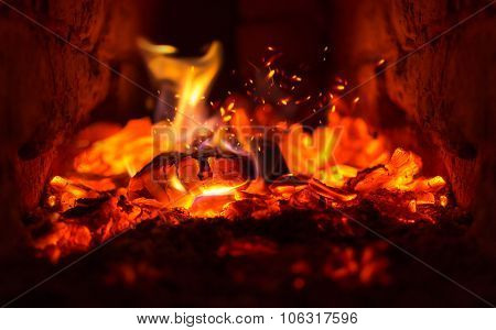 Fire In The Hearth Burning Brightly. Traditional Farmhouse Fireplace