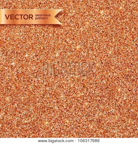 Copper glitter vector seamless pattern